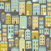 A Walk in The Park by Makower UK - 6462 - Houses on Dark Grey - 2145_S - Cotton Fabric